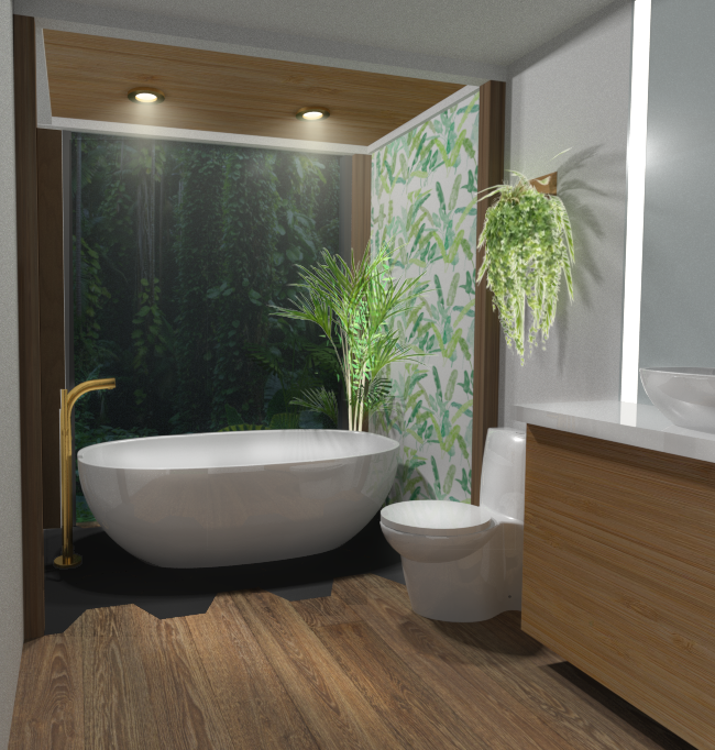 RESIDENTIAL AN OASIS BATHROOM DESIGNED TO STIMULATE A SPA-LIKE FEEL OF TRANQUILITY AND SERENITY. THIS SPACE INCORPORATED DIFFERENT PATTERNS OF BIOPHILIC DESIGN WHICH ENHANCES THE USER'S CONNECTIVITY WITH NATURE.