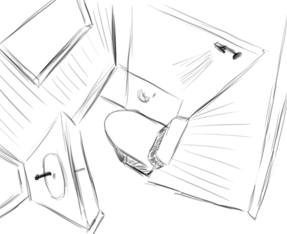 Tiny Bathroom Perspective Sketch
