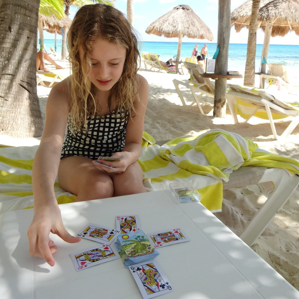 Playing Cards - This seems simple but a deck of cards has endless possibilities. Structured favorites include Tell me a Story, Crazy Mates, Old Maid and Classic Uno. Click below to download a PDF of how to play Golf, one of our favorites for older kids.