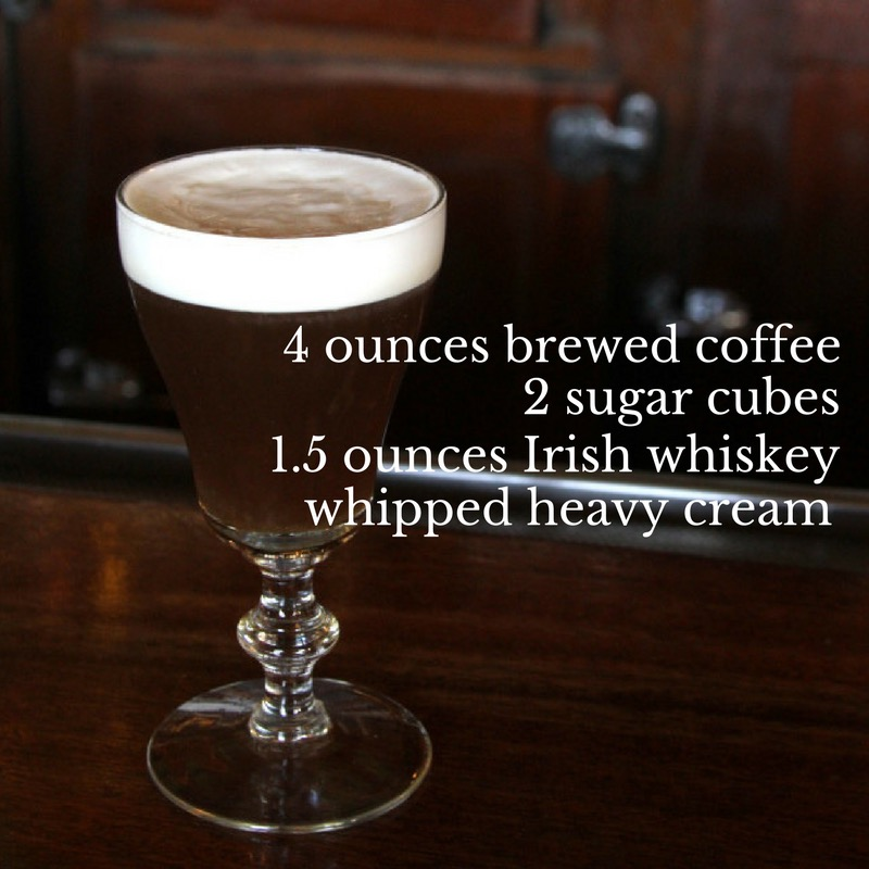 The Buena Vista Irish Coffee - Fill 6oz. glass with very hot water to pre-heat, then empty. Pour hot coffee into hot glass until it is about three-quarters full. Drop in two cocktail sugar cubes. Stir until the sugar is thoroughly dissolved. Add full jigger of Irish Whiskey for proper taste and body. Top with a collar of whipped cream by pouring gently over a spoon.