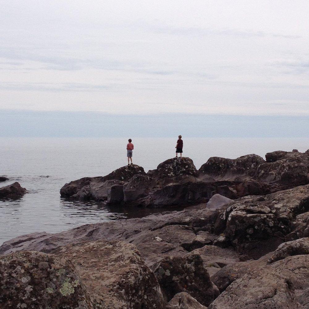 Climbing Rocks at Temperance Beach