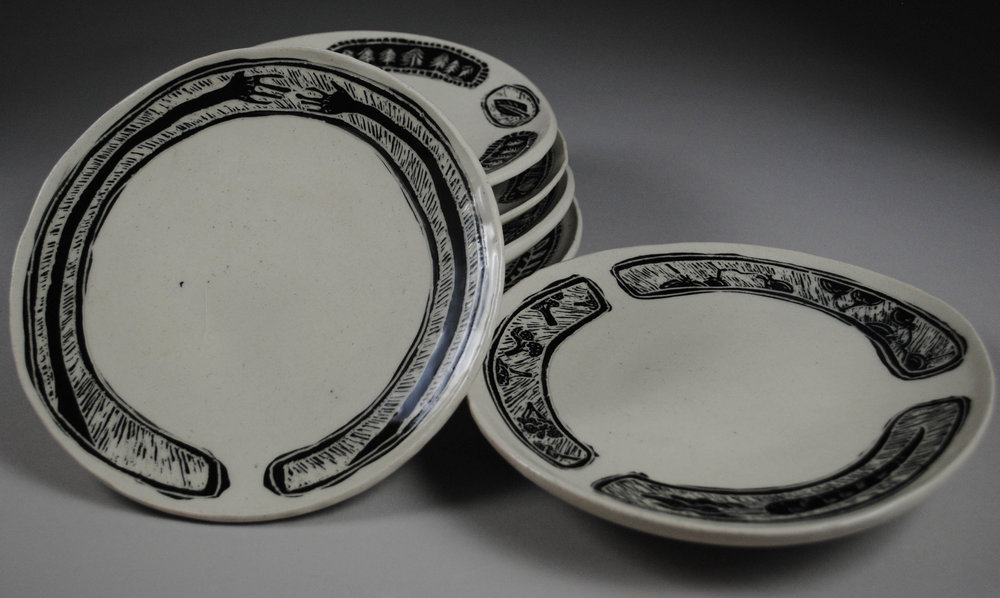 """Gratitude Plates - Stoneware with Underglaze and Carved Motif, Each Plate 1""""x8""""x8"""""""