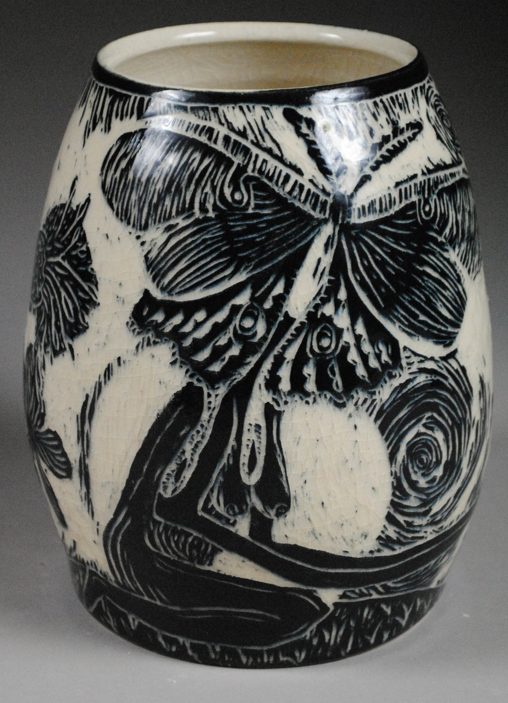 """Growing (Side A) - Stoneware with Underglaze and Carved Motif, 7""""x5""""x5"""""""