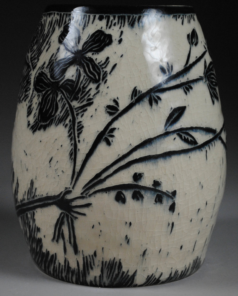 """Growing (Side B) - Stoneware with Underglaze and Carved Motif, 7""""x5""""x5"""""""