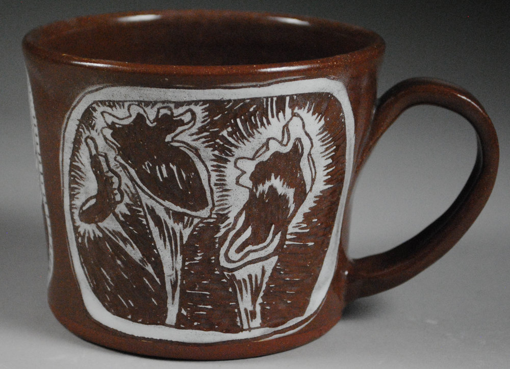 """Carnivorous Plant Mug- Earthenware Body with underglaze and Carved Motif, 4""""x4""""x4.5"""""""