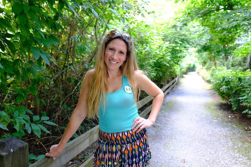 Heidi Maddrell, sporting the Say Hello Port Moody pin.
