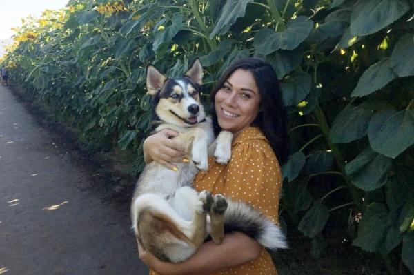 Zola with her human mom, Jasmine Daniels.