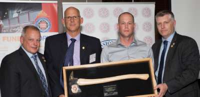 Cranbrook Local 1253 receives Axe Award on behalf of Clayton Murrell