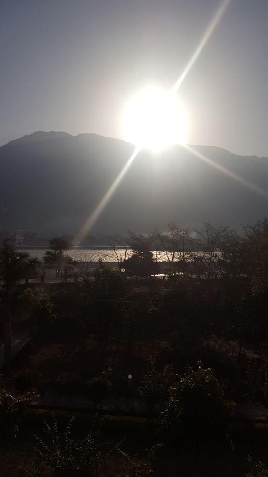 Dawn over the Ganga from our ashrama balcony in Rishikesh 💖
