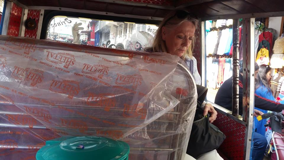 Jaya in a tuktuk full of shopping! Buying things for our little Heart Home 💖