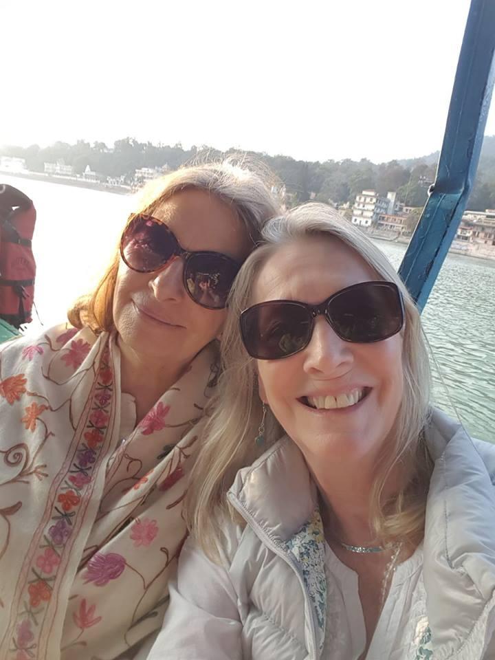 Padma Devi & Jaya Devi on the ferry across the divine Ganga 💖