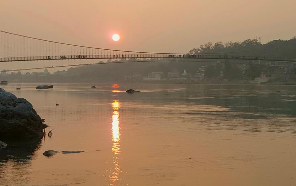 Walking in the Light 💖at Ram Jhula bridge