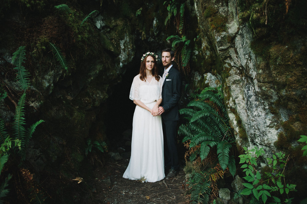 Vancouver Wedding Photographer - Bride And Groom Standing Together In The Forest