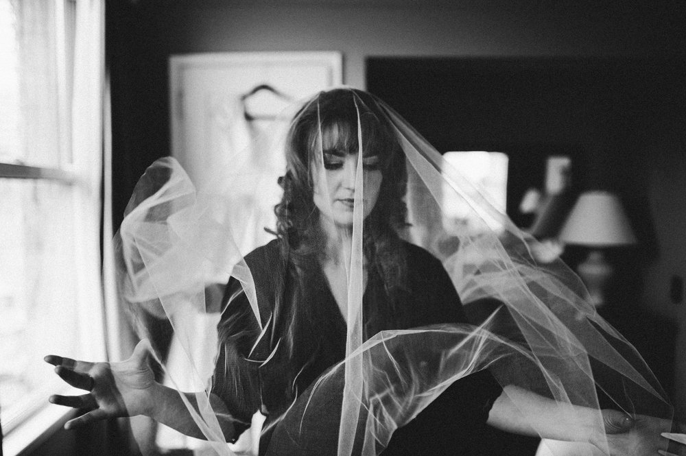Vancouver Wedding Photographer - Bride Getting Ready, Wearing A Veil