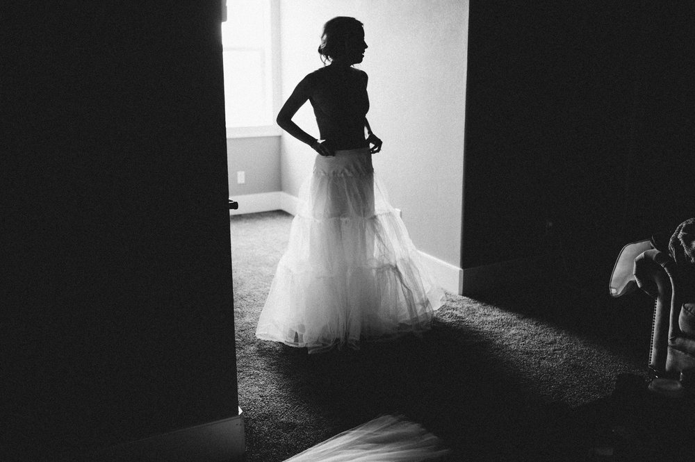Vancouver Wedding Photographer - Bride Getting Ready Silhouette