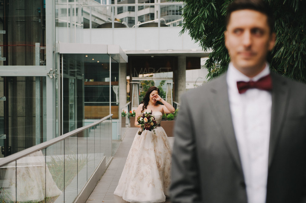 Vancouver Wedding Photographer - Bride And Groom First Look - In The City