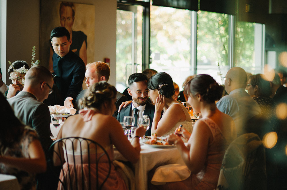 Vancouver Wedding Photographer - Bride And Groom At Their Reception With Their Bridal Party