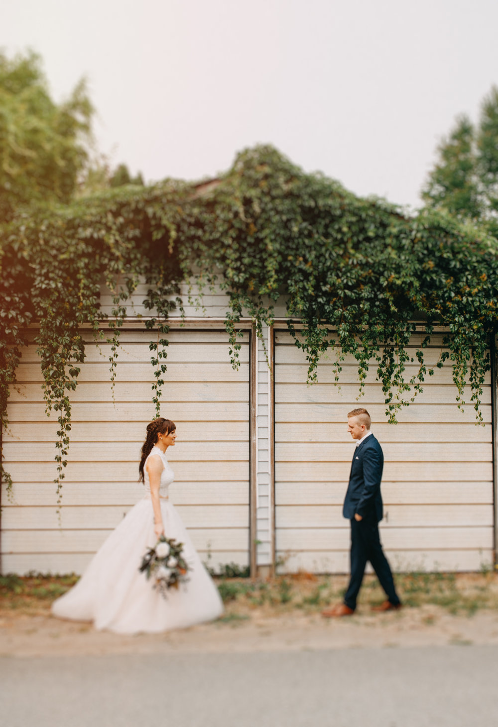 Vancouver Wedding Photographer - Bride And Groom First Look Outdoors
