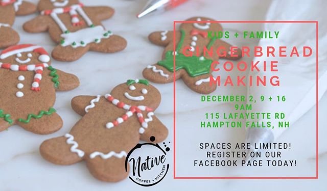 Excited to get in the holiday spirit with this series of family friendly special events.  #snowiscoming #gingerbreadmadness #hamptonfalls