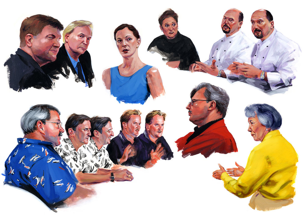 Various industry professional's, painted for a series of roundtable discussions, for SRQ magazine, 2002-2003