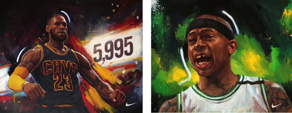 Social Media campaign for Nike NBA and space150 / Overnight portraits of NBA playoff moments / Lebron James / Isaiah Thomas, 2017