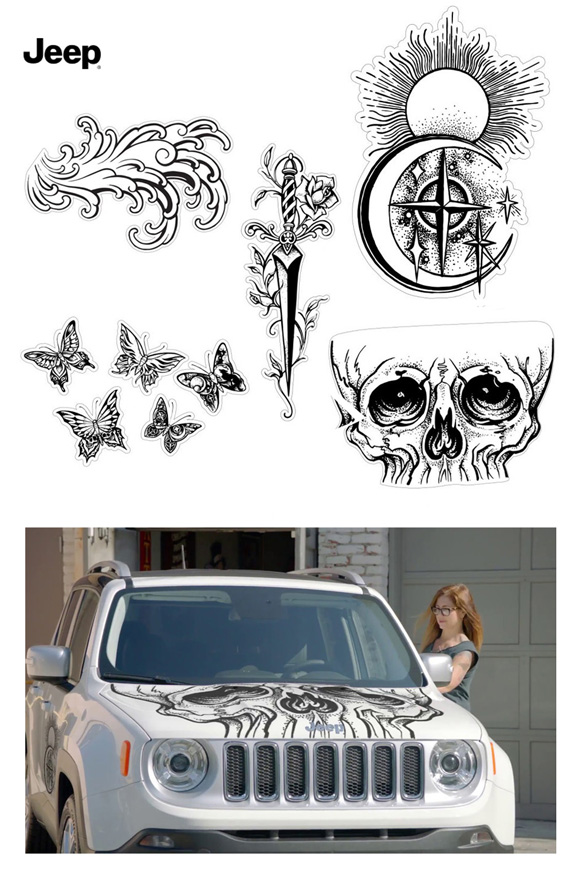 Ad campaign and Illustrations for Jeep Renegade, Auto Body stickers, 2017