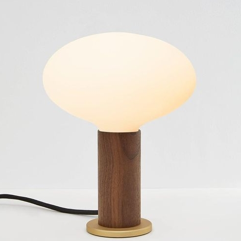 2/TalaTouch Lamp, $220 - Simple in design but classic in form, the Tala Touch Lamp is the perfect union of robust materials and simple geometry. The matte white, mouth-blown glass bulb sits atop a hardwood body made of pure American walnut. Gently tap its smooth, solid brass base to switch between three different brightness levels. Versatile, tactile and built to last, this dimmable table lamp makes a natural companion for work or home.
