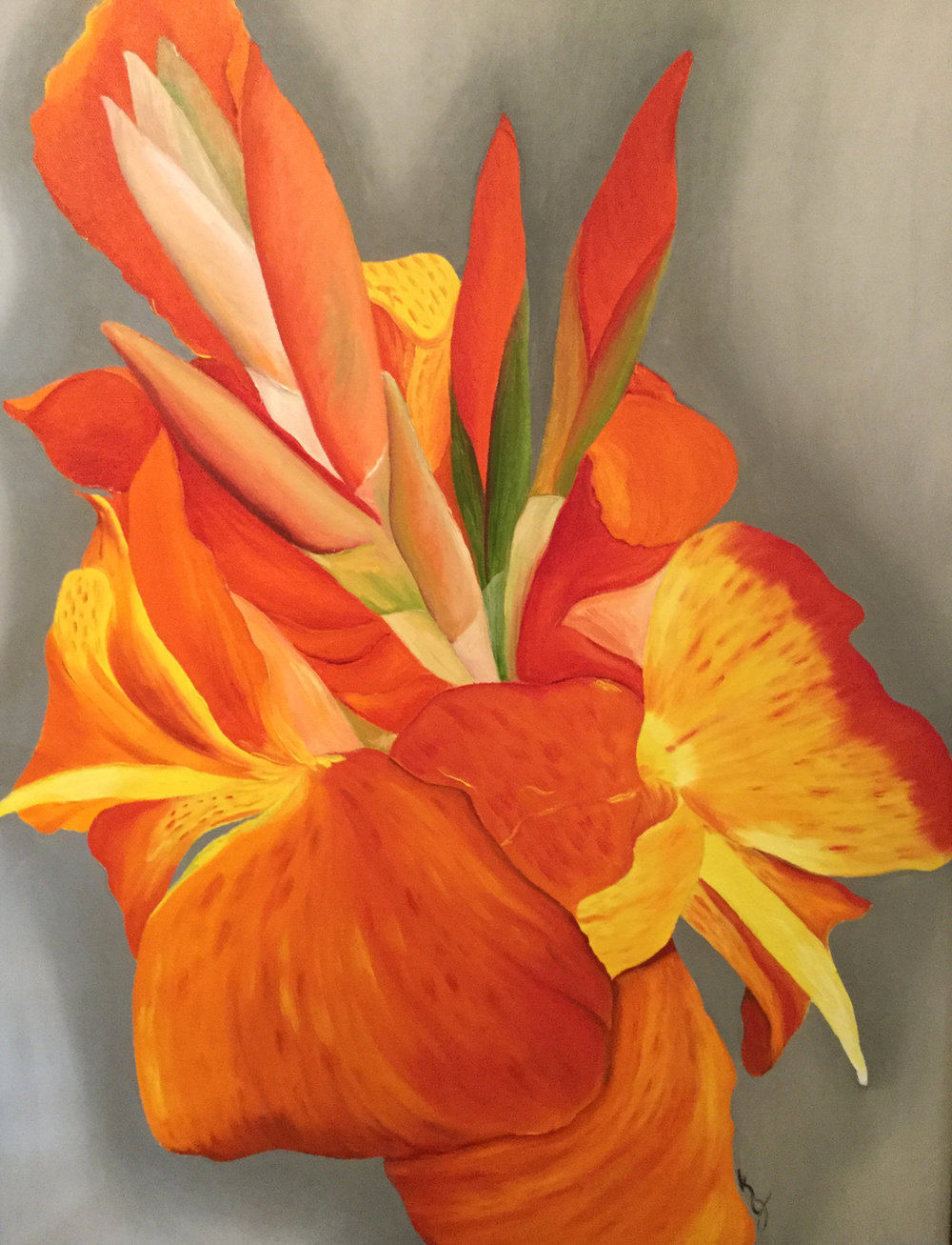Orange Cannas  2017 Oil on canvas 24 x 18 inches