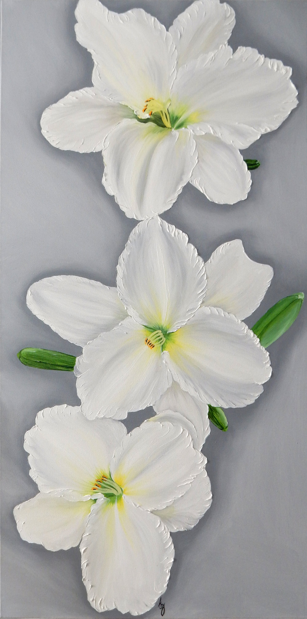 White Daylily Triple  2017 Oil on canvas 36 x 18 x 1.5 inches