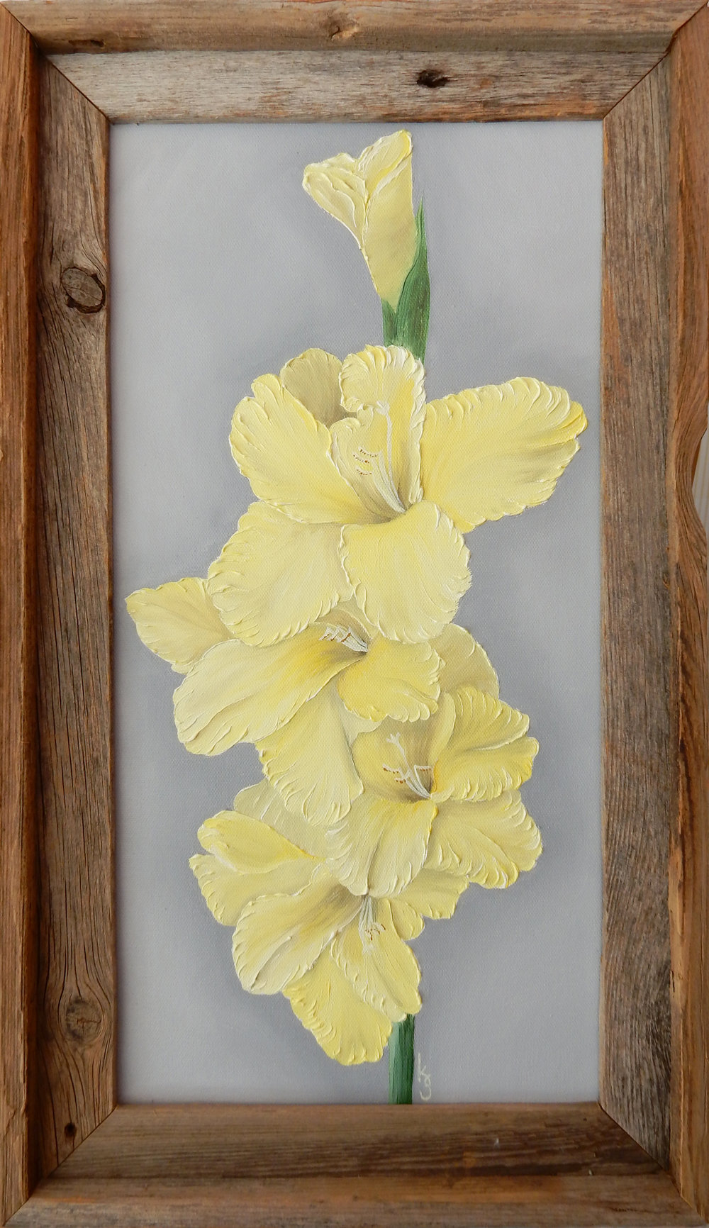 Yellow Gladiolus  2017 Oil on canvas 20 x 10 x 1.5 inches