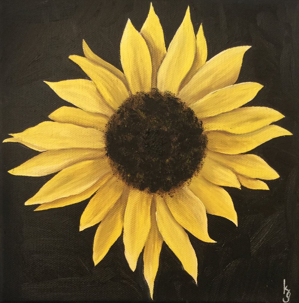 Sunflower  2017 Oil on canvas 8 x 8 inches