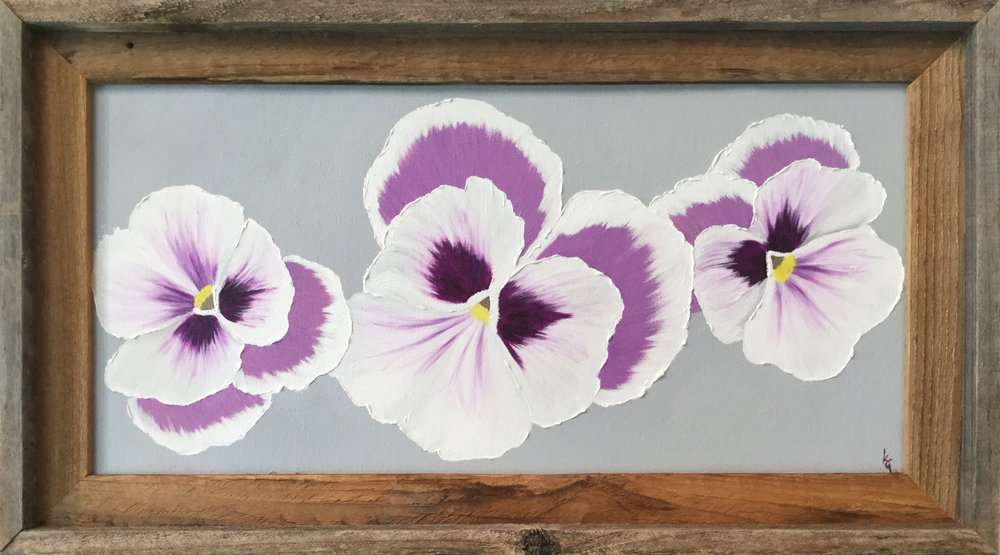 Pansies  2017 Oil on canvas 10 x 20 inches