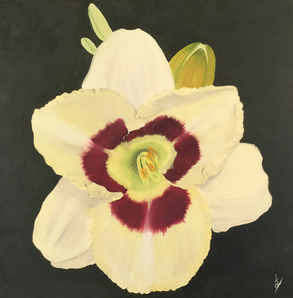 Yellow and Red Daylily  2016 Oil on canvas 20 x 20 inches