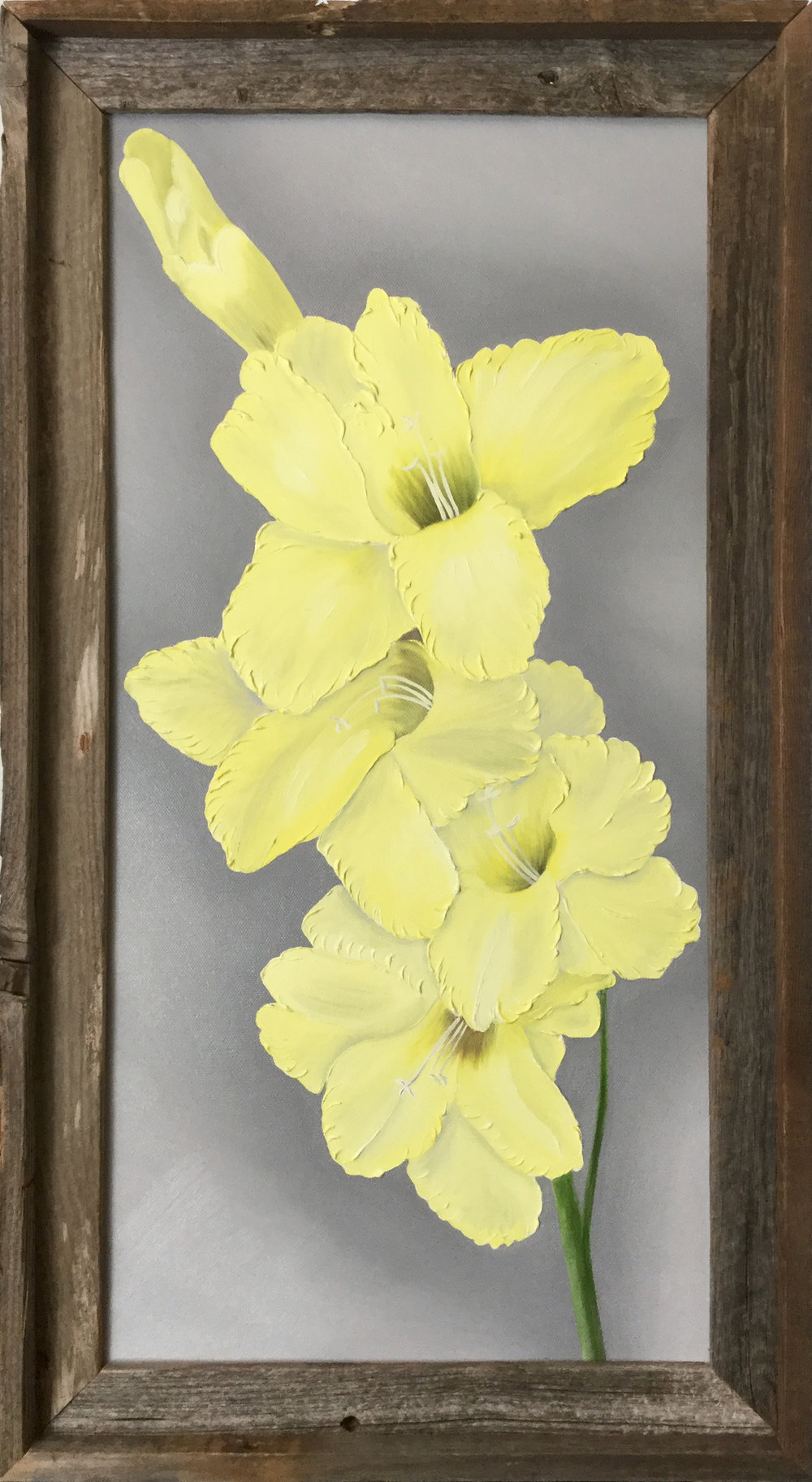 Yellow Gladiolus  2017 Oil on canvas 24 x 12 inches
