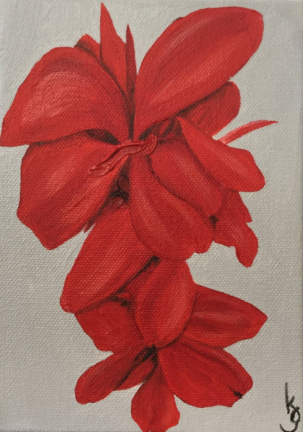 Red Canas , 2017 754241761217 Oil on canvas 7 x 5 x 1.5 inches