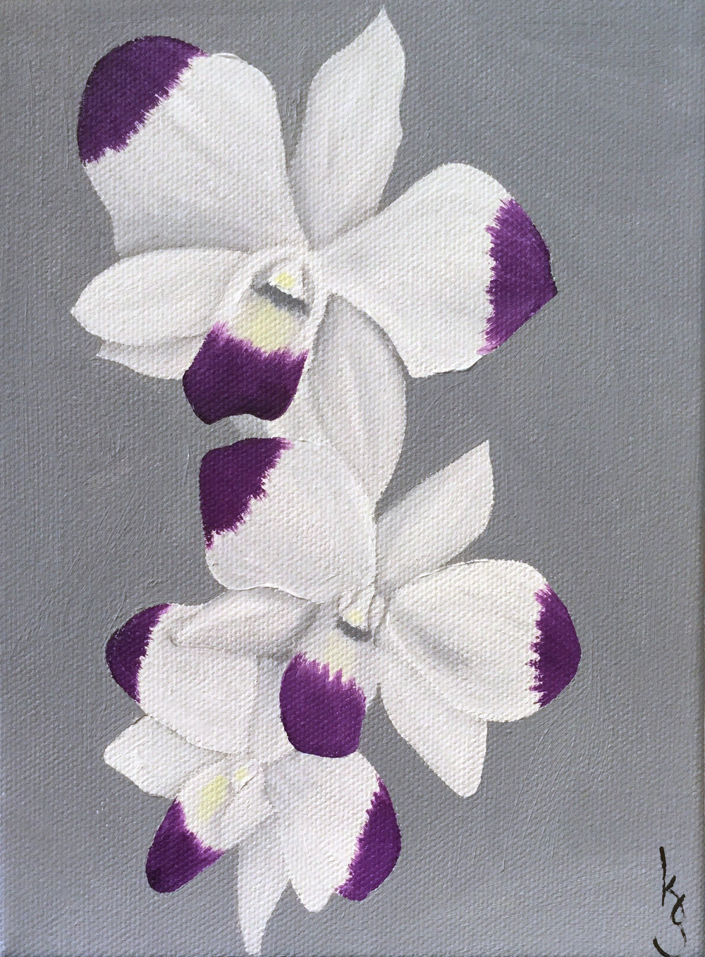 White & Purple Dendrobium Orchid Triple , 2017 864171762517 Oil on canvas 8 x 6 x 1.5 inches