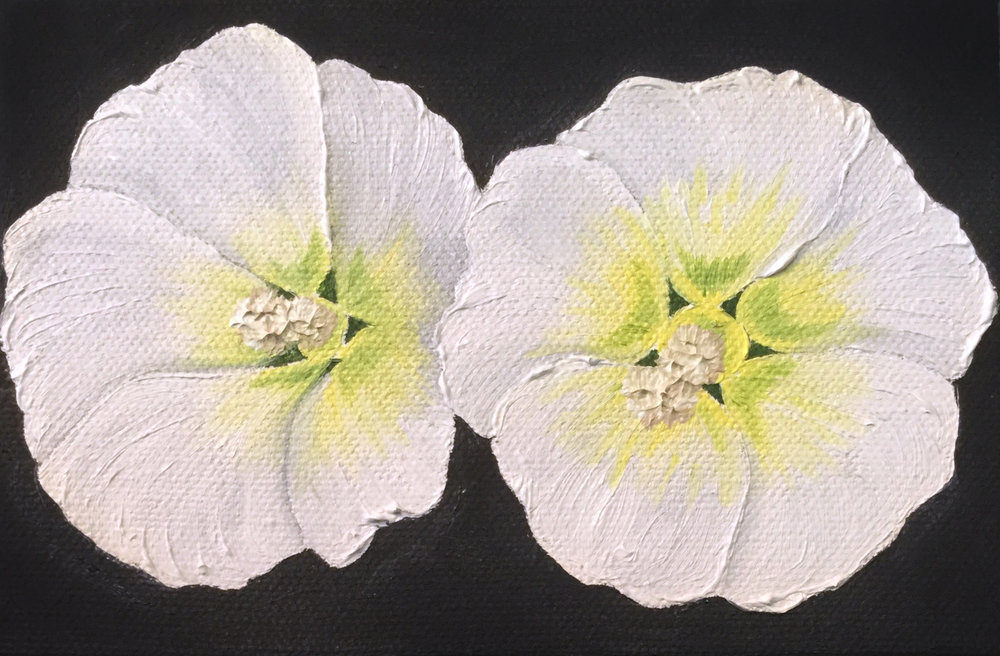 Hollyhocks Double , 2017 46201772517 Oil on canvas 6 x 4 x 1.5 inches