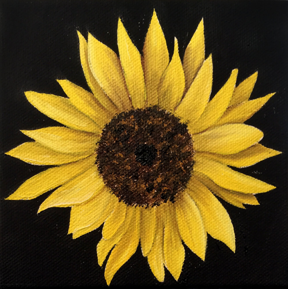 Little Sunflower 1 , 2017 557261571617 Oil on canvas 5 x 5 x 1.5 inches