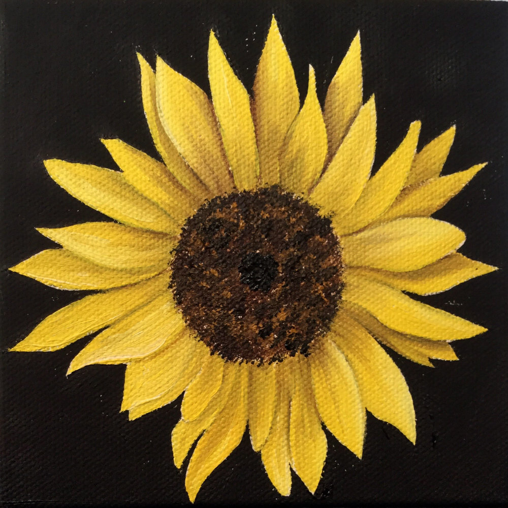 Little Sunflower 2 , 2017 557261571617 Oil on canvas 5 x 5 x 1.5 inches