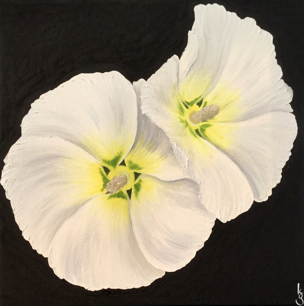 Hollyhocks  2017 Oil on canvas 12 x 12 inches