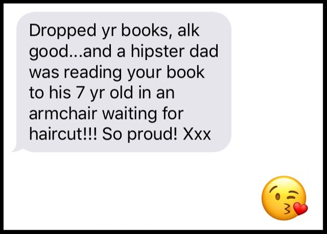 Nelly's partner Lachlan spotted a dad reading SOME GIRLS to his daughter at the hairdressers! He sent her this text message (NB, he can normally spell quite well!)