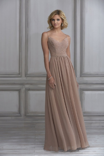 2. This A-line gown comes at #2 on the list and is also figure flattering. It's romantic with a touch of glam because of the beaded bodice and flowy chiffon skirt.