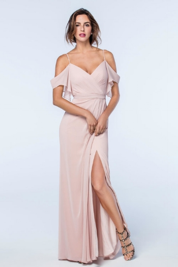 3. How could we not fall in love with a dress that has a slit?! Plus the off the shoulder straps are flirty and help to frame your face.