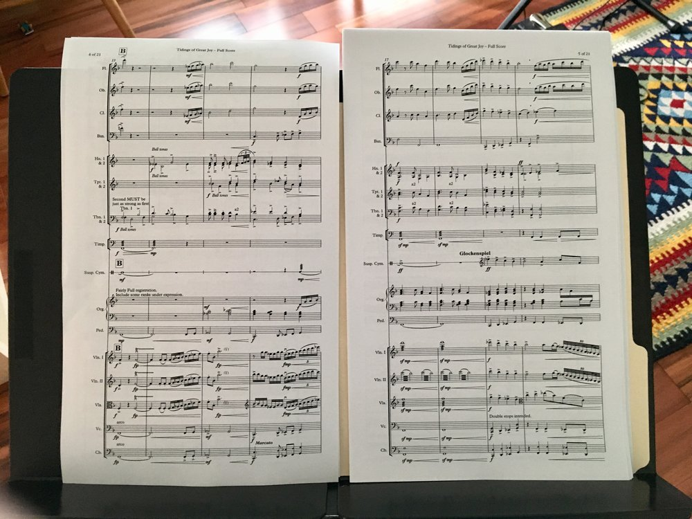 Full score, before binding. Easy to read and reference for rehearsal, optimized page turns for performance.