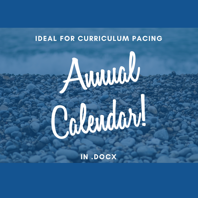 Annual Curriculum Pacing Calendar