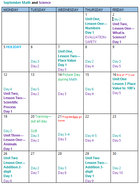 Pacing calendar for two subjects, math and science. Note that the calendar shows important calendar dates as well as posting names of units on the days they begin followed by the days they continue. Subjects are colored coded.