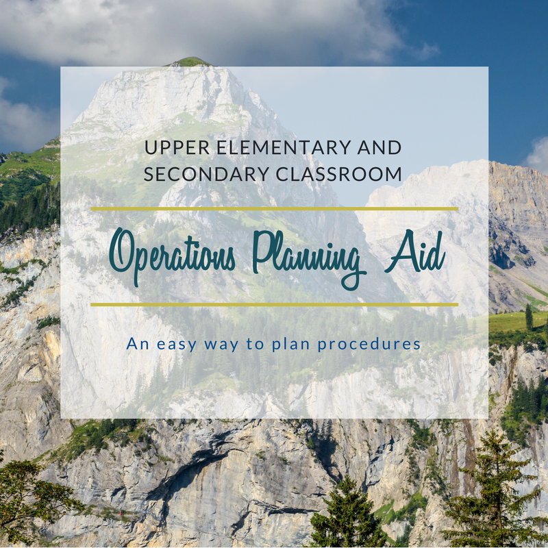 Upper Elementary and Secondary Classroom Management Planning Aid