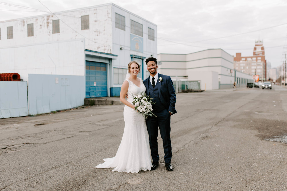 wedding party industrial seattle wedding photos