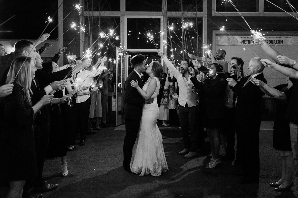 sparkler send off seattle wedding photography