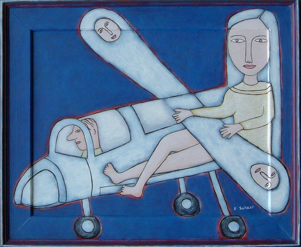 4.Eileen Schaer 'Blue Aeroplane' 48 cms x 58.5 cms.JPG